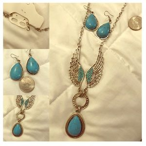 Turquoise necklace earring set